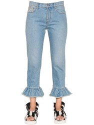 Msgm Cropped And Ruffled Cotton Denim Jeans