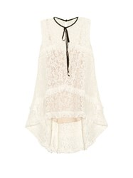 Erdem Bessie Ruffle Trimmed Lace Top White