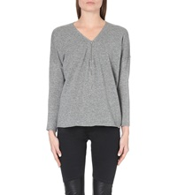 The Kooples Wool And Cashmere Sweater With Zip Neck Grey