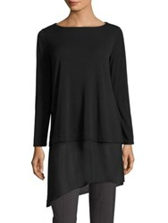 Eileen Fisher Silk Jersey Asymmetrical Hem Tunic Black