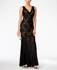 Betsy And Adam Petite Lace V Back Gown Black Nude