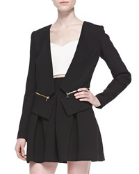 Milly Double Weave Cady Zip Off Blazer Black