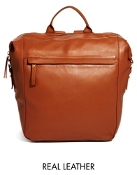 Asos Leather Backpack In Boysy Shape
