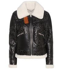 Coach Crinkled Leather And Shearling Jacket Black