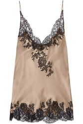 Carine Gilson Lace Trimmed Silk Satin Camisole Pink
