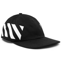 Off White Striped Cotton Canvas Cap Black