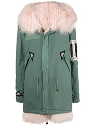 Mr And Mrs Italy Crystal Embellished Parka Coat Green