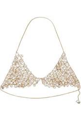Alighieri Gold Plated Pearl Triangle Bra White
