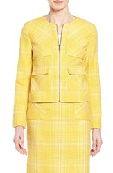 Women's Halogen Zip Front Tweed Jacket Yellow Tweed