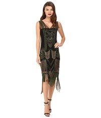 Unique Vintage Beaded Fringe Flapper Dress Green Gold Women's Dress
