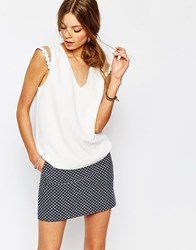 Suncoo Leah Cap Sleeve Top In Cream White