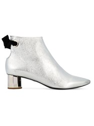 Proenza Schouler Metallic Grey Silver Pointed Ankle Boots Women Leather 37