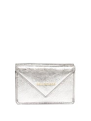 Balenciaga Papier Metallic Leather Purse Silver
