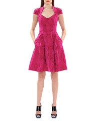 Theia Rose Print Pleated Fit And Flare Dress Magenta