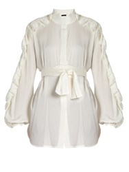 Ellery Audacity Ruffled Sleeve Silk Blend Blouse Ivory