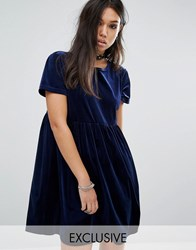 Reclaimed Vintage Velvet Smock Dress Navy