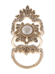 Marchesa Notte Crystal Embellished Finger Ring Metallic