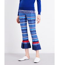 Mary Katrantzou Peyote Silk Twill Trousers Bluebird