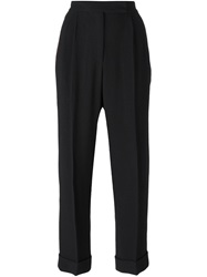 Marco De Vincenzo Cropped Front Pleat Trousers Black