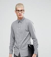 Selected Homme Slim Fit Shirt In Brushed Cotton Grey