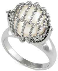 Effy Collection Effy Cultured Freshwater Pearl Mesh Ring In Sterling Silver 11 1 2Mm White