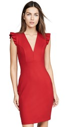 Susana Monaco Ruffle Edge Dress Red