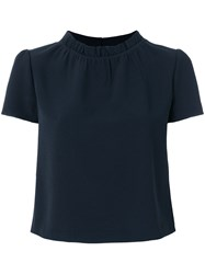 Emporio Armani Gathered Blouse Blue