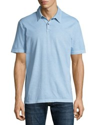 James Perse Sueded Jersey Polo Shirt Light Blue