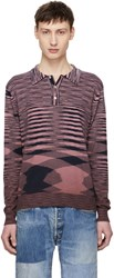 Missoni Pink Long Sleeve Striped Polo