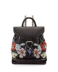 Alexander Mcqueen Small Embroidered Leather Backpack Black Pattern