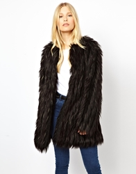 Urbancode Faux Fur Coat Blackgreen