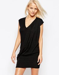 Religion Pop V Neck Bodycon Dress Jet Black