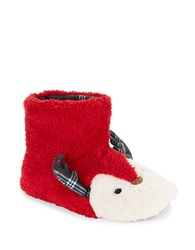 Kensie Faux Fur Reindeer Slippers Red
