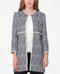 Tahari By Arthur S. Levine Asl Tweed Topper Jacket Navy Ivory