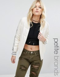 Glamorous Petite Quilted Staeen Relaxed Bomber With Sequin Stripe Cream
