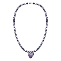 Martick Glass Heart Pearl Necklace Purple