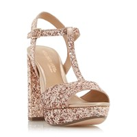 Head Over Heels Missy T Bar Platform Block Heel Sandals Rose Gold