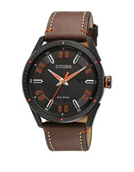 Citizen Drive Ion Plated Stainless Steel And Leather Strap Watch Bm6995 19E Brown