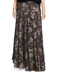 Denim And Supply Ralph Lauren Floral Print Tiered Maxi Skirt Ebony Floral