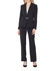 Tahari By Arthur S. Levine Pinstriped Two Piece Jacket And Pant Suit Black Ivory
