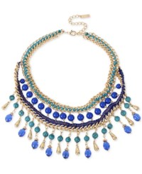 Inc International Concepts M. Haskell For Inc Gold Tone Blue Beaded Woven Statement Necklace Only At Macy's