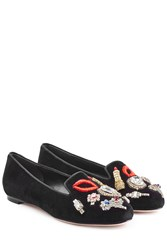 Alexander Mcqueen Velvet Slippers With Embellishment And Embroidery Black