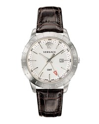 Versace Univers 43Mm Watch W Leather Strap White