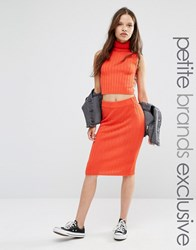 Noisy May Petite Knitted Ribbed Bodycon Skirt Red