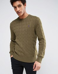 Polo Ralph Lauren Crew Jumper Cable Knit Olive Green