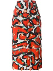 Marco De Vincenzo Printed Midi Skirt Red