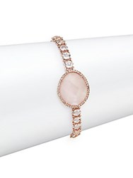 Meira T White Topaz Pink Opal And 14K Rose Gold Bracelet