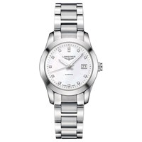 Longines L22854876 'S Conquest Classic Diamond Automatic Date Bracelet Strap Watch Silver Mother Of Pearl
