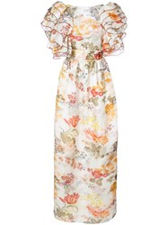 Rosie Assoulin Floral Print Puff Sleeve Dress Silk White