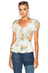 Alexander Mcqueen Printed Ruffle Blouse In Blue Green Floral Orange White Blue Green Floral Orange White